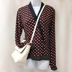 🆕 Zara Woman Wrap Front Cranberry Print Blouse